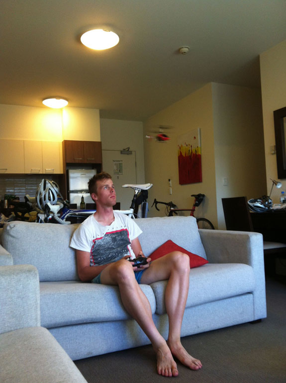 """""""Mitch Mulhern piloting his toy helicopter at track camp... it only lasted a couple of days."""""""