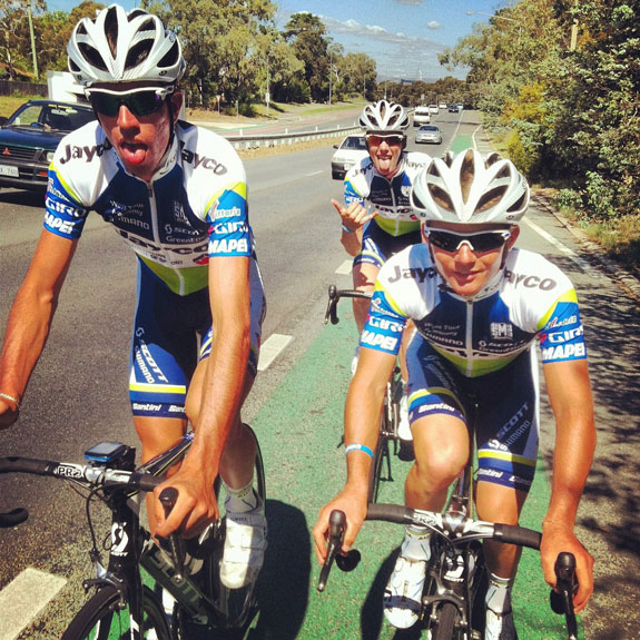 """""""First ride in the Jayco-AIS World Tour Academy kit with Damien Howson, Brad Linfield & Mitch Mulhern (photographer)..."""""""