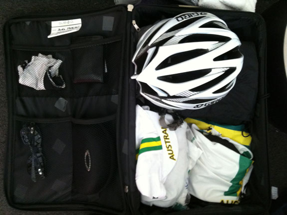 """""""Bag packed the night before the Oceania TT."""" (He finished 16th, 5:34 behind Damien Howson in the under-23 race.)"""