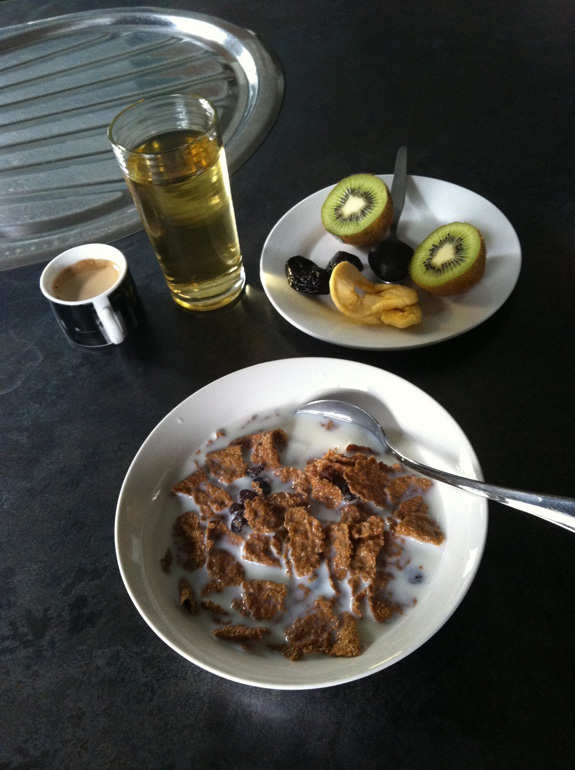 """""""The usual pre-training breakfast at home. Cereal or muesli, fruit and a coffee."""""""