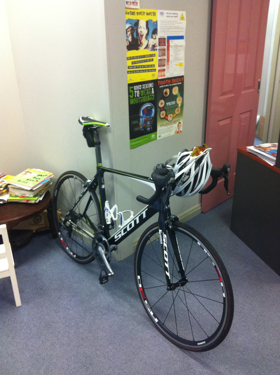 """""""Quicker than driving to the dentist... the trusty team bike..."""""""