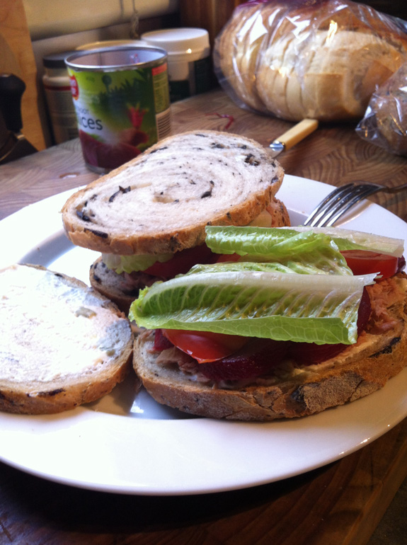 """""""Post ride meal, a tuna and salad sandwich. Ticks all the nutritional boxes."""""""