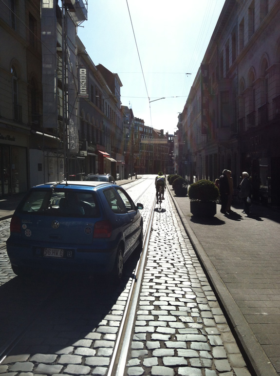 """""""Traffic, cobbles and a tram line. I still managed to get a photo without a hassle like a good Melbourne boy."""""""