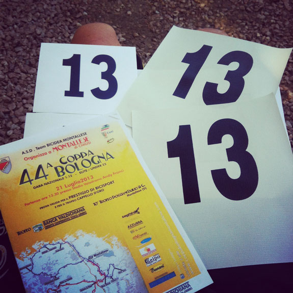 """""""Well, number 13 is definitely unlucky for me. Something bad has happened every time I've worn it! At Coppa Bolgnia it was a dodgy stomach- not exactly ideal for a long, hot, hilly race!"""""""