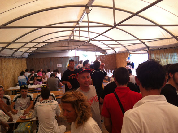 """""""Pre-race meal at the start location. It was like a sauna in there."""""""