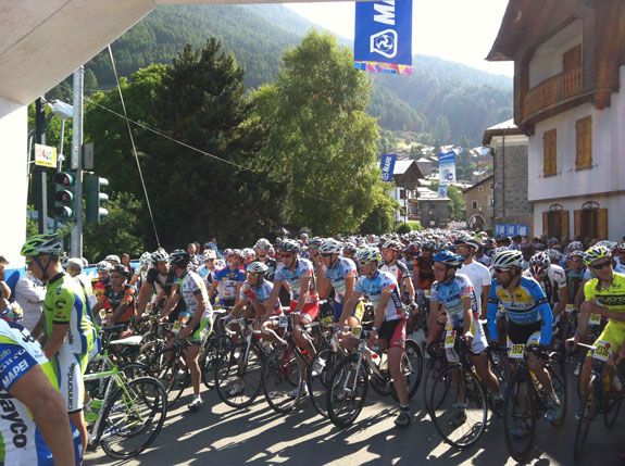 """""""he Mapei Stelvio ride. Thousands of cyclists everywhere! As Mapei is such an important sponsor for our team we happily attended and even got to start on the front row! These guys were definitely not taking it easy either..."""""""