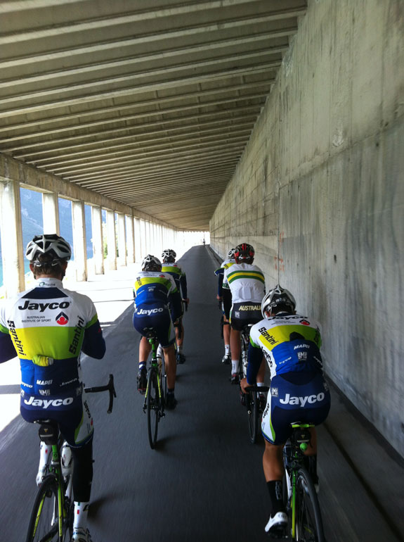 """""""Recovery ride through the tunnel to the border and back. Literally the only flat ride in the whole area."""""""