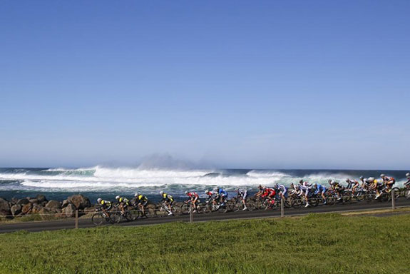 """""""Tour of South Coast: the peloton racing along the coast in what was quite a spectacular Criterium circuit. Too bad I was too busy staring at rear wheels to take in the views..."""""""