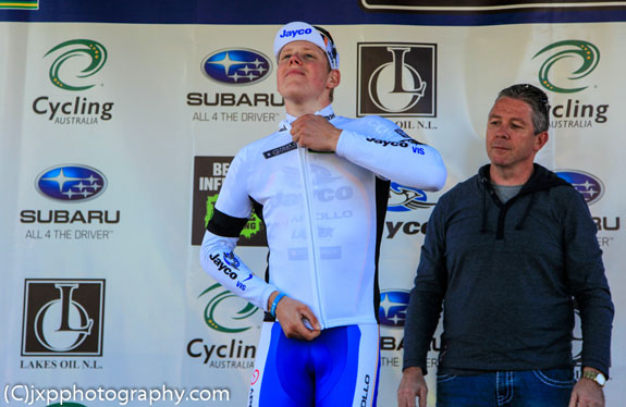 """""""Young rider's white jersey."""""""