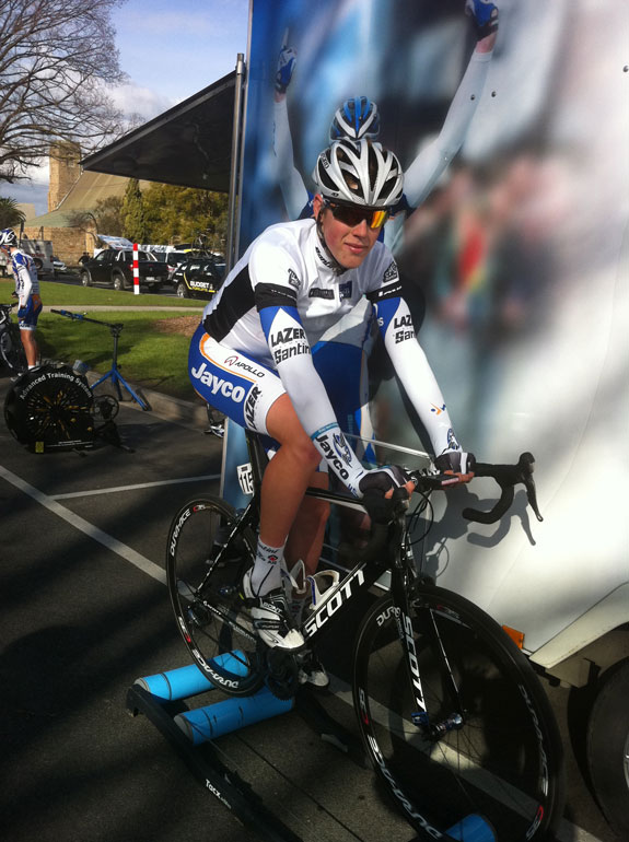 """""""Roller warm-up before the final stage. It's so important to warm up and down properly pre and post every stage when at a tour. The days add up and if you haven't looked after yourself properly it will come back to bite you."""""""
