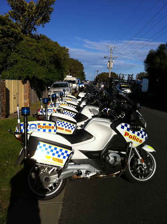 """""""Police moto's all lined up and ready for a road stage."""""""