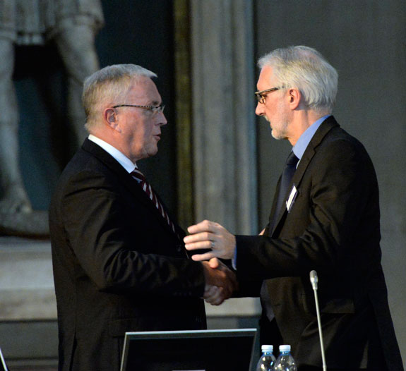 Out with the old, in with the new: McQuaid and Cookson at the end of a most intriguing voting process for the UCI president. Photo: Graham Watson