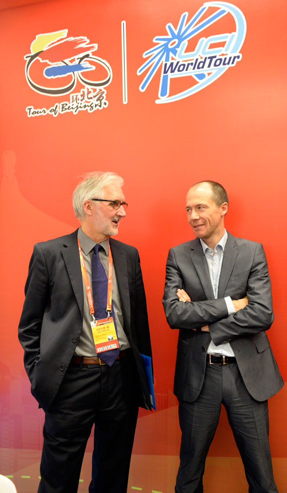 UCI president Brian Cookson and Global Cycling Promotion's director Alain Rumpf in discussion at the recent Tour of Beijing.  Photo: Graham Watson