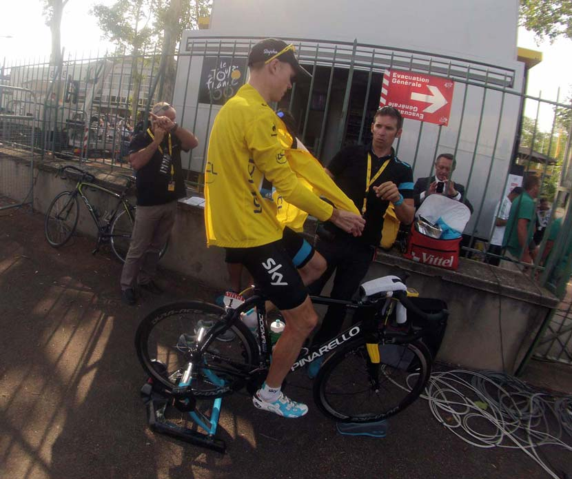 Dario Cioni on hand to help Chris Froome during the 2013 Tour de France. Photo: Rob Arnold