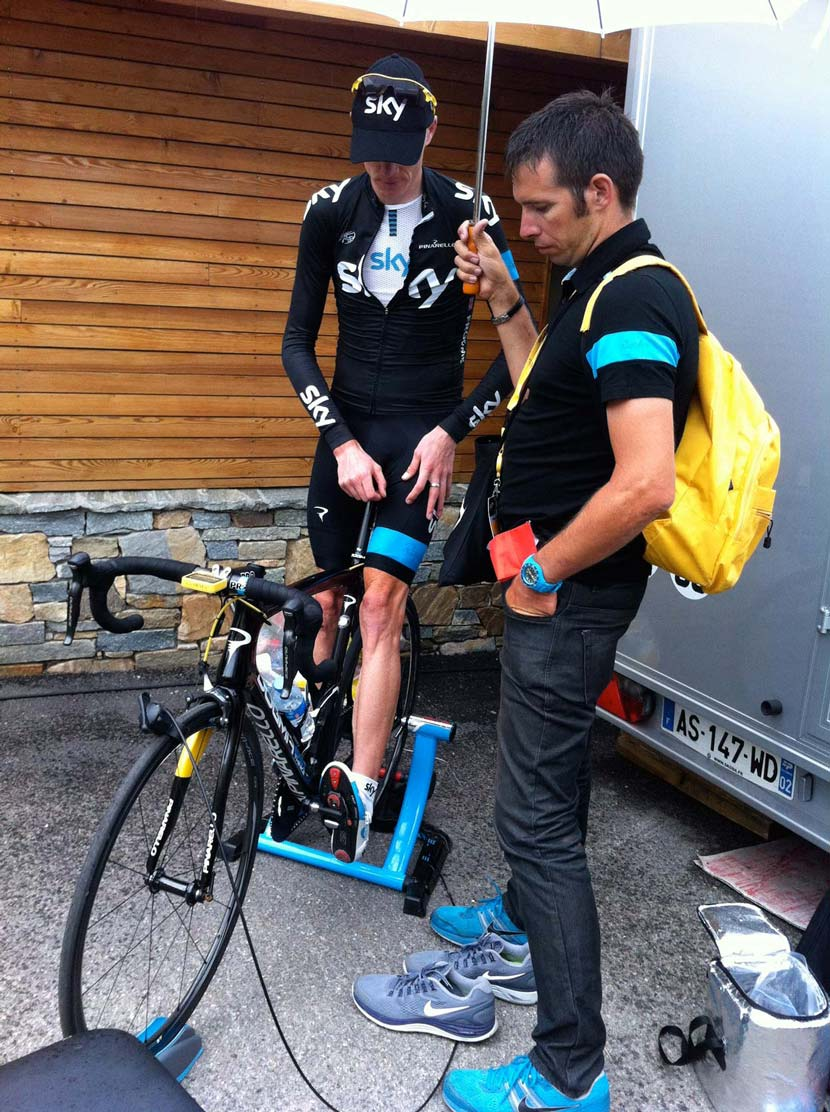 Froome and Cioni at Alpe d'Huez at the 100th Tour de France.  Photo: Rob Arnold
