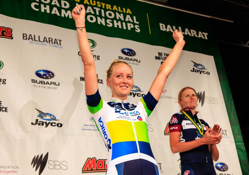 Gracie Elvin on the podium after winning the 2013 national championship road race. Photo: Jarrod Partridge