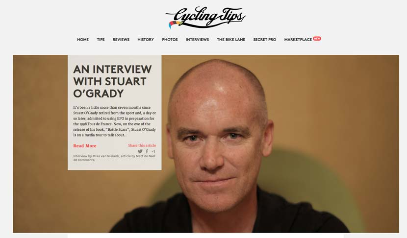 Visit CyclingTips.com.au to see Mike van Niekerk's interview with O'Grady.