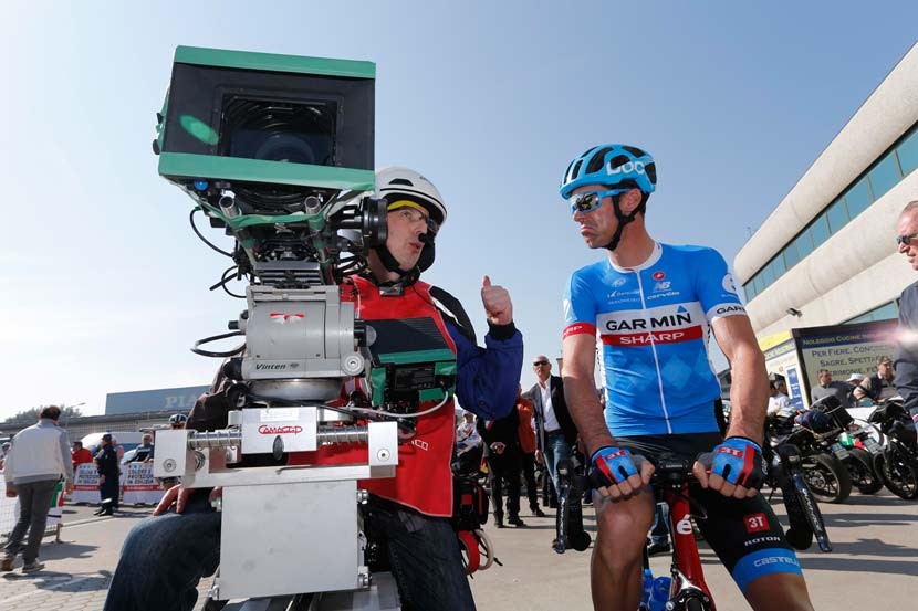 Broadcast quality is all relative. The title sponsor of David Millar's team has recently released a camera of its own. Garmin joins a range of companies that are tapping into the interest customers have in capturing their own cycling action. Photo: Yuzuru Sunada