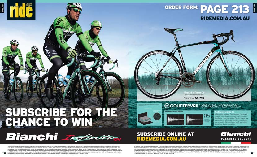 Image of the Bianchi Infinito CV subscription promotion pages in RIDE Cycling Review Issue 63