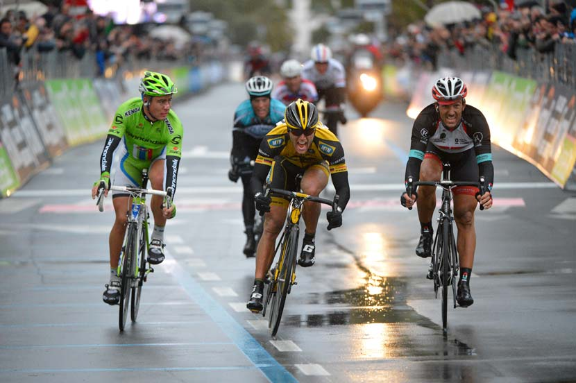 Gerald Ciolek beats Fabian Cancellara and Peter Sagan in the 104th edition of Milan-San Remo. Photo: Yuzuru Sunada