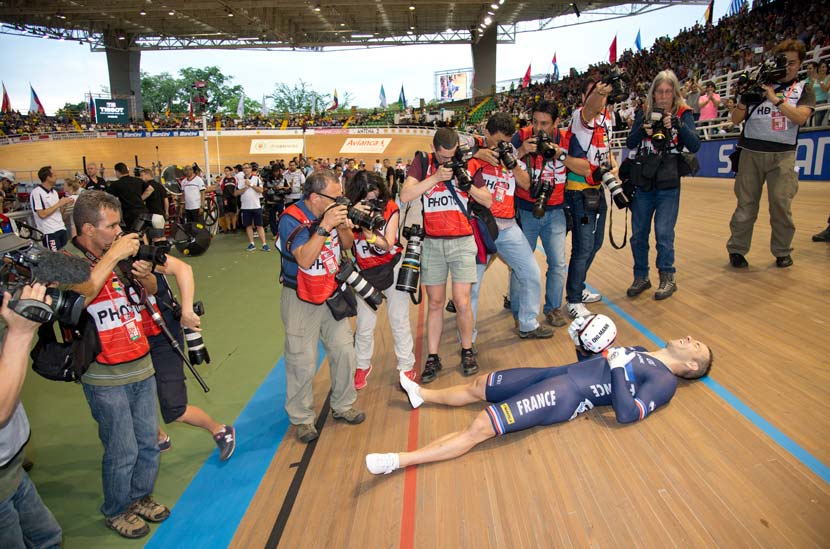 François Pervis won the 'kilo', keirin and sprint in Cali. He recognises his achievement after his third world championship victory of 2014...  Photo: Graham Watson