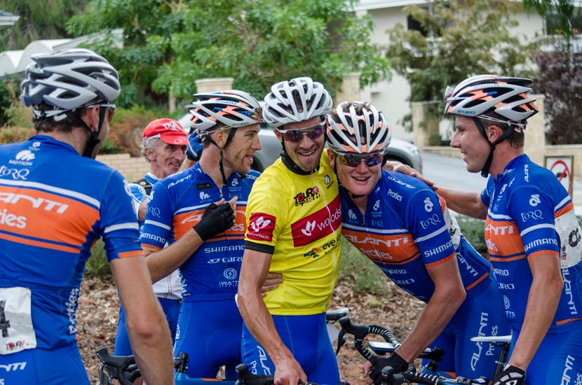 The opening round of the 2014 NRS was contested with the Avanti Racing Team taking home the spoils thanks to the efforts of TT wizard Joe Cooper. Here he celebrates with team-mates after the final stage. Photo: Julia Kalotas