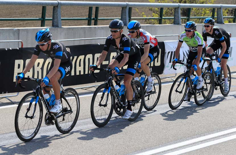 (From left to right): Sebastian Henao Gomez, Vasil Kiryienka, Ben Swift, Peter Kennaugh, and Dario Cataldo in the Coppi/Bartali week... Sky won four of the five stages of the race, with Swift starting things off, the team taking the TTT, Kennaugh winning a road stage and TT... and the GC title. Stay tuned for an interview with Ben Swift - coming soon to ridemedia.com.au. Photo: Graham Watson