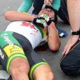 Caleb Ewan on the Flanders crash