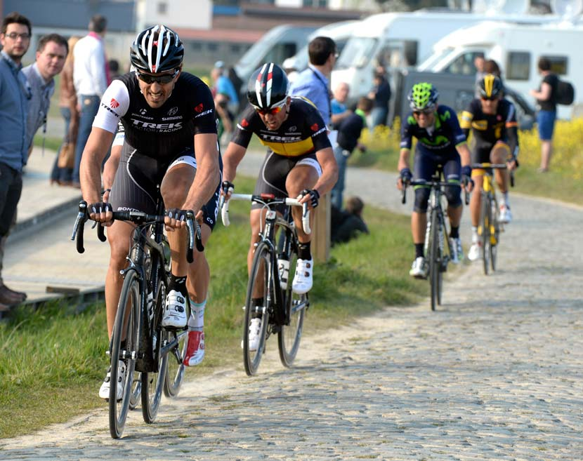GP E3... a familiar scene: Fabian Cancellara and Stijn Devolder driving the pace on the pavé... but what's what? Alejandro Valverde getting in on the action? The GC men are coming to the Classics in 2014. Next up: Wiggo to appear in the Ronde van Vlaanderen on Sunday. Photo: Graham Watson