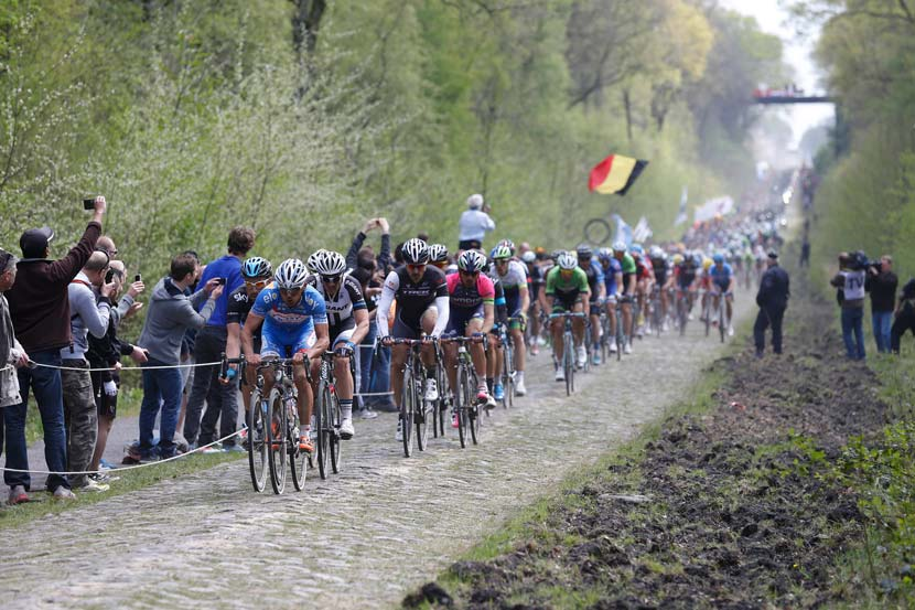The peloton speeds over the pavé at the Forest of Arenberg. Photo: Yuzuru Sunada