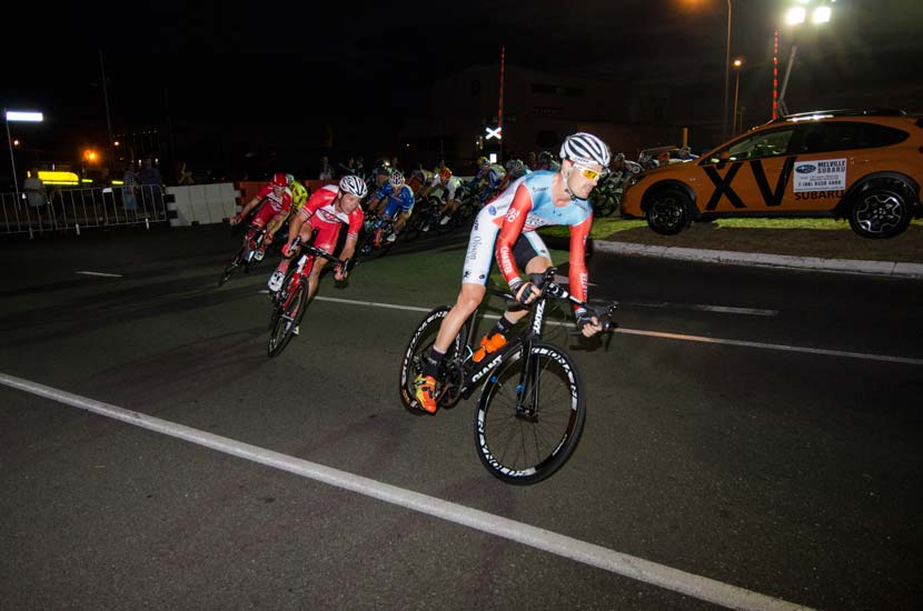 The Tour de Perth got underway with a twilight (or poor light) criterium in Freemantle. Shannon Johnson leads Will Clarke out of a corner... at the finish that order was reversed: Clarke first, Johnson second. (Click here for Nick Squillari's blog about the night.) Photo: Julia Kalotas