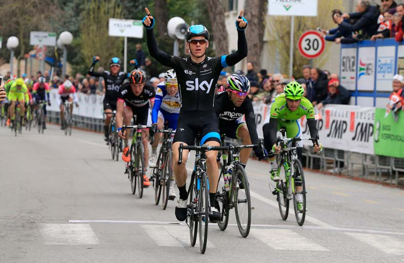 Ben Swift, first in stage one of the Coppi/Bartali Week... his first victory since the 2012 Tour of Poland. Photo: Graham Watson.