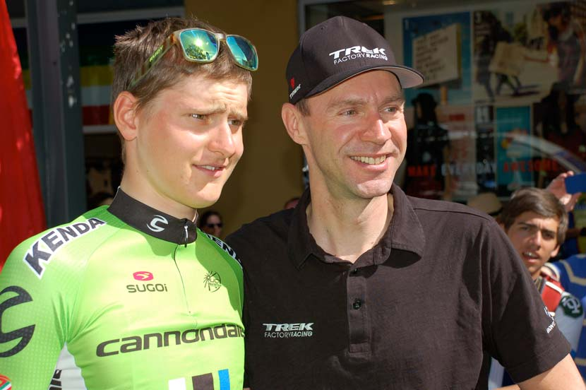 Young and... ah, experienced: Mohoric and Voigt. The youngest and oldest riders eligible to start the Tour in 2014. Photo: Rob Arnold