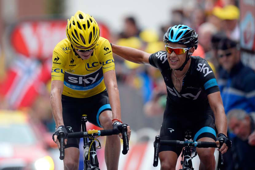 Finishing at Alpe d'Huez in 2013: Froome and Porte side by side. Photo: Yuzuru Sunada