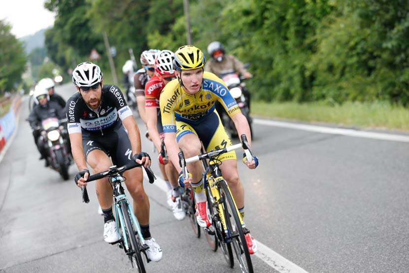 McCarthy leads the escape group at the Giro d'Italia during stage 17... Photo: Yuzuru Sunada
