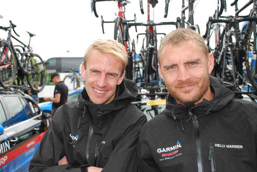 Garmin-Sharp directeurs sportif, Charly Wegelius and Robbie Hunter.  Photo: Rob Arnold