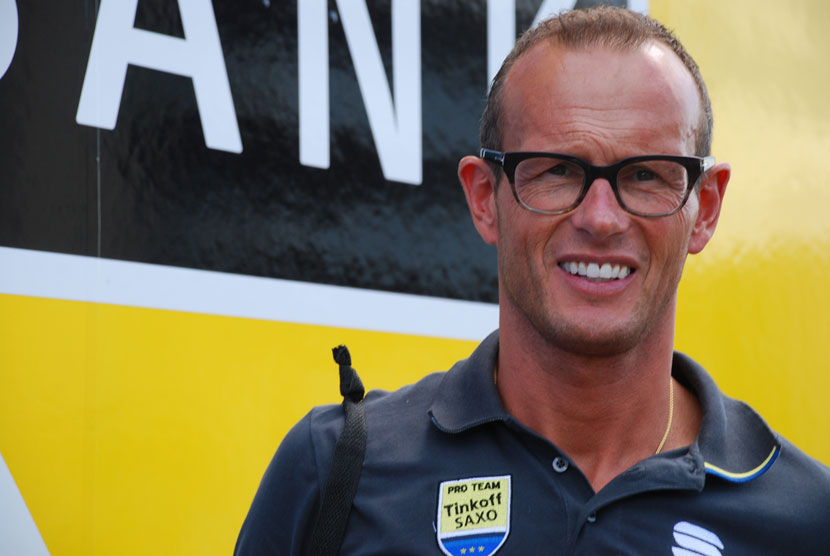 Christophe Desimpelaere outside the Tinkoff-Saxo truck that contains the collection of Specialized bikes used in the Tour de France. Photo: Rob Arnold