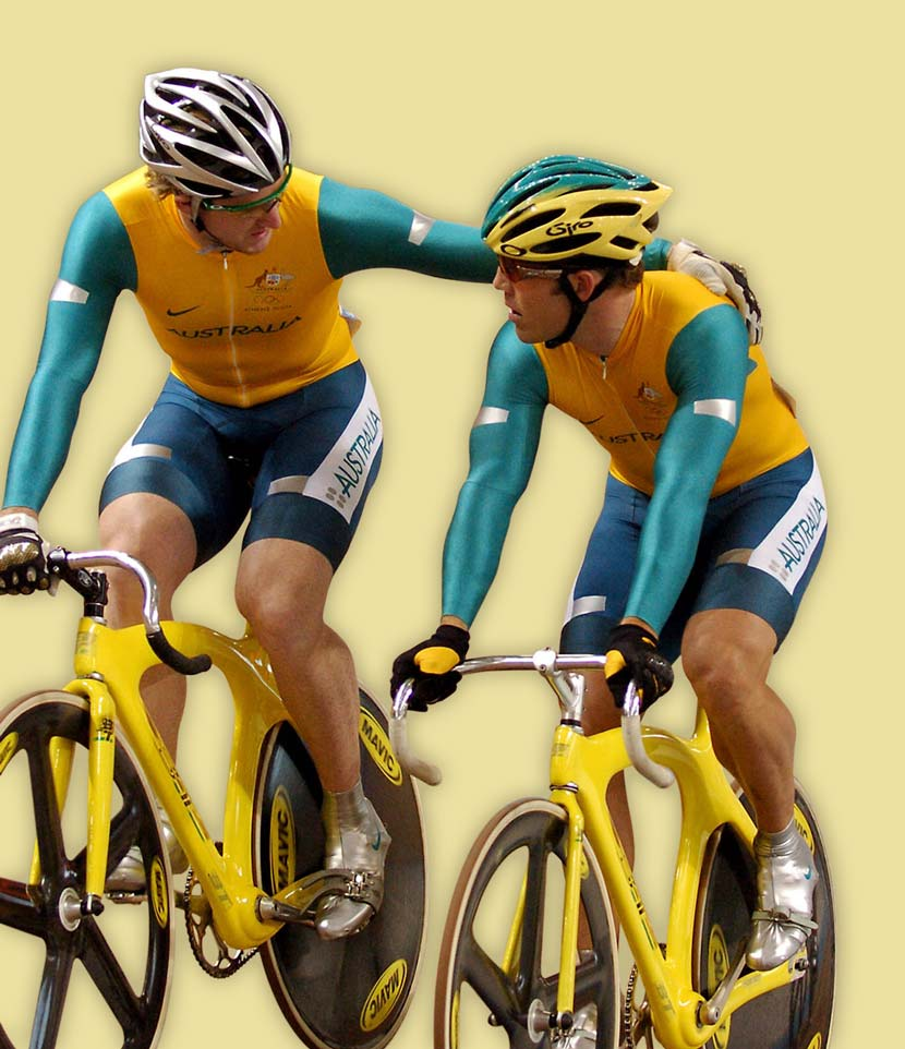 Ryan Bayley and Shane Kelly, first and third in the keirin at the 2004 Olympics.