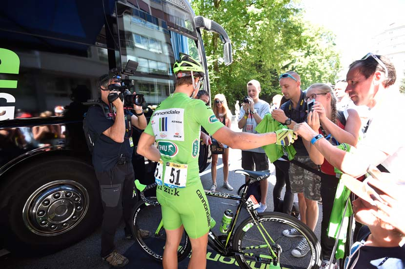 Peter Sagan in his final Tour riding a Cannondale... next year he's off to Tinkoff-Saxo and McEwen believes he'll continue to collect green jerseys. Photo: Yuzuru Sunada