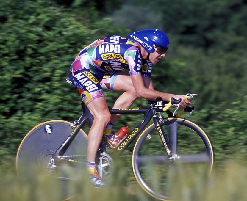 In the later years of his career, Cadel appeared to sit further forward than in 2002 when he first raced a Grand Tour, with Mapei. Photo: Graham Watson
