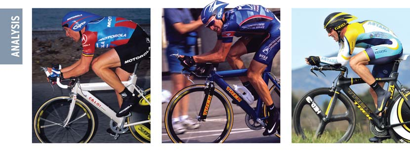Time trial through the ages… Armstrong's TT position has always been under scrutiny to ensure that he achieves maximum efficiency. During his years at Motorola he wasn't considered a specialist in the discipline but he was improving. He won stage five of Paris-Nice in 1995 and had good form early in the season but he was outside the top 10 for the TT on the final day (left) and finished 35th overall. At the start of the 1999 Tour (centre) he won the 6.8km prologue in a time that was 10 seconds faster than Miguel Indurain on the same course six years earlier.. In the year of his next comeback Lance admitted he found it awkward to find the right position on the bike. Still, in the Tour of California (right) there were signs of the sort of form that helped him claim 10 individual time trials in the Tour de France during his winning years.