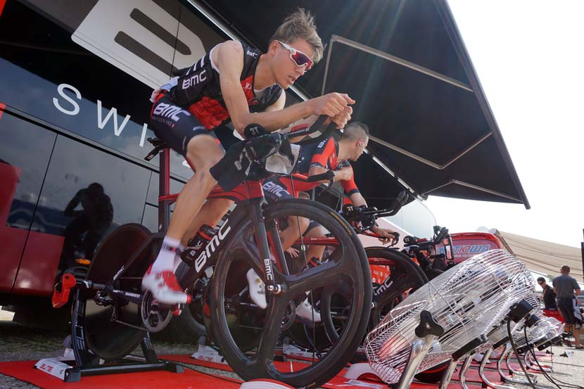 Warming up for the opening stage: BMC took the first yellow jersey of the 2015 Tour, can it put another rider in the lead of GC in stage nine? Photo: Rob Arnold