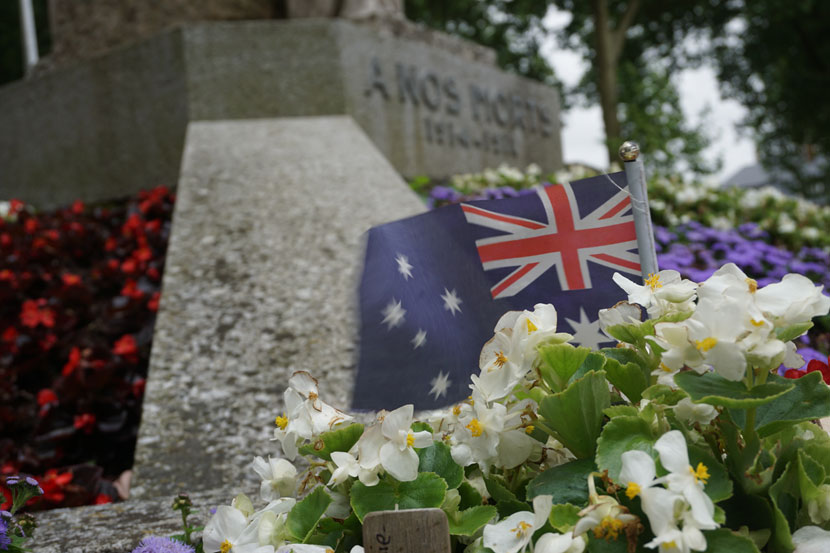 Lest we forget.  There are plenty of Australian flags in and around Villers-Bretonneaux. Photo: Rob Arnold