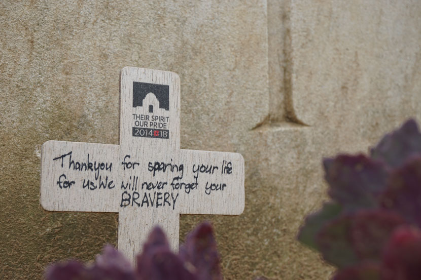 One of many messages on one of many graves at the Australian War Memorial. Photo: Rob Arnold