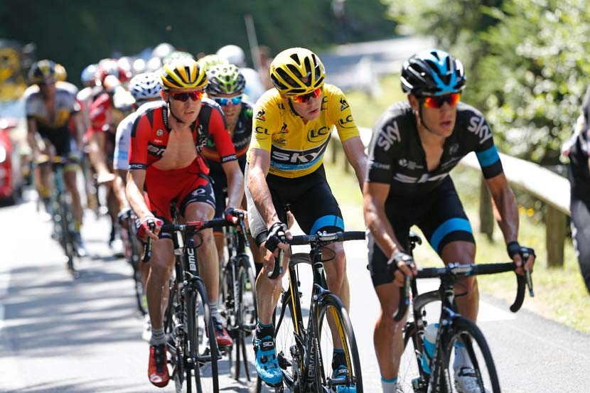 Porte leads Froome and van Garderen in stage 10 of the 2015 Tour. Photo: Yuzuru Sunada