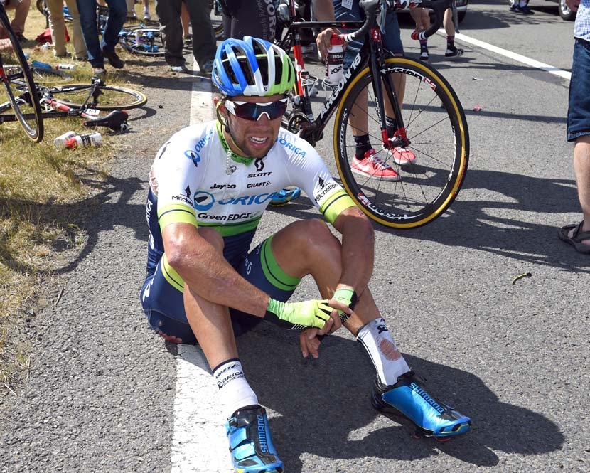 Down but not out... Michael Matthews after the crash in stage three. Photo: Graham Watson