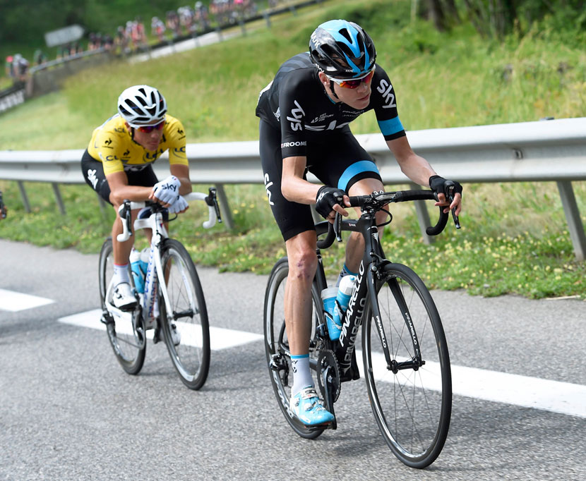 Froome leading Kennaugh... that was June. Expect to see it around the other way in July. Photo: Graham Watson