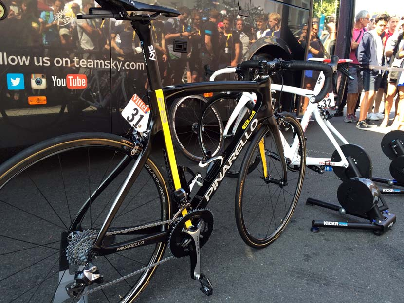 "The first of Froome's ""yellow"" bikes from the 2015 Tour. Photo: Gary Blem"