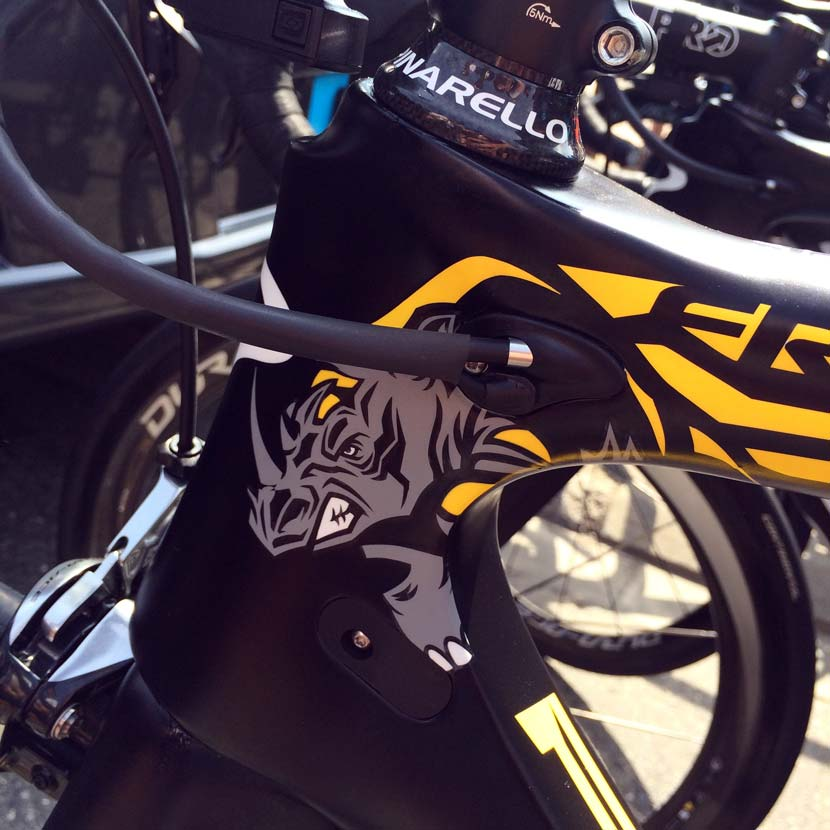 Inspired by wildlife... the rhino on Chris Froome's bike. Photo: Rob Arnold