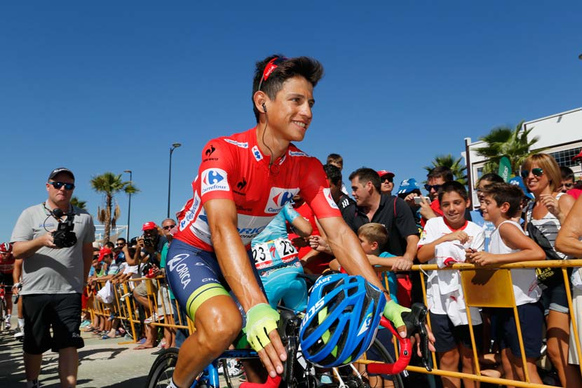 Estaban Chaves has won two of six stages of the 2015 Vuelta and worn the red leader's jersey for four days already... Photo: Yuzuru Sunada